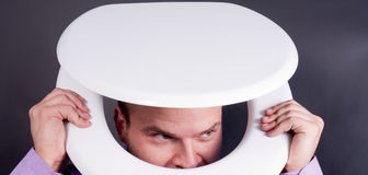 Man in toilet Royalty Free Stock Photography