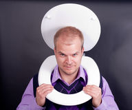 Man in toilet. Young handsome man in  toilet Royalty Free Stock Photos