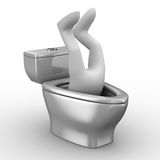 Man into toilet bowl Stock Images