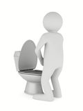 Man and toilet bowl Royalty Free Stock Image