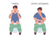 Man on the toilet, the concept of pathology of constipation and hemorrhoids before and after the disease. Vector graphics of disea. The concept of rectal disease royalty free illustration