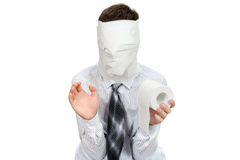 Man With Toilet Paper Stock Images