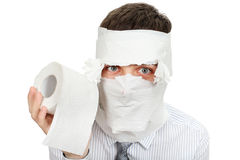 Man With Toilet Paper Stock Photography