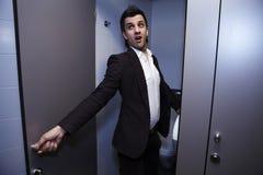 Man on toilet. Photo. royalty free stock image