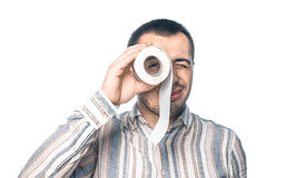 Man with toliet paper stock photos