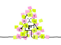 Man & too much sticky notes Royalty Free Stock Photo