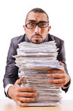 Man with too much work stock image