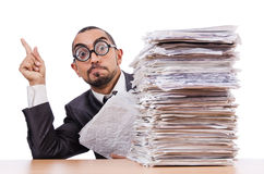 Man with too much work Stock Photo