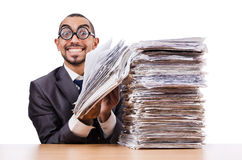 Man with too much Stock Image