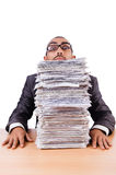 Man with too much work Royalty Free Stock Photos