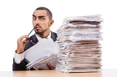 Man with too much work. To do Stock Image