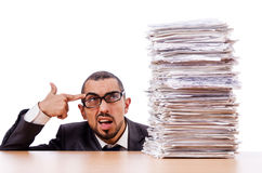 Man with too much work. To do royalty free stock photos