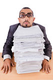 Man with too much work stock photos