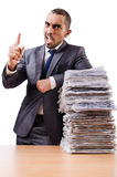 Man with too much work Royalty Free Stock Image