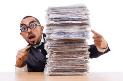 Man with too much work Royalty Free Stock Photo