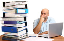 Man with too much work Stock Photography
