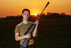 Man took aim with your sniper rifle Royalty Free Stock Image