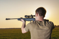 Man took aim with your sniper rifle Stock Image