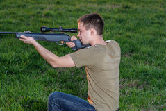 Man took aim with your sniper rifle Royalty Free Stock Photography