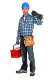 Man with tool box Stock Images