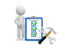 Man with tool and clipboard. A 3d man pointing at the checklist, a hammer and a wrench aside Stock Photos