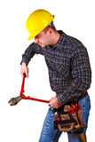 Man tool cut. Isolated young caucasian man tool Stock Image