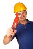 Man tool on white background. Isolated young worker on white background Stock Image
