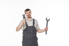 Man with tool Royalty Free Stock Images