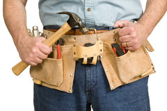 Man With Toolbelt. Close up horizontal shot of man with toolbelt Royalty Free Stock Images