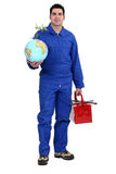 Man with a toolbox Stock Photo