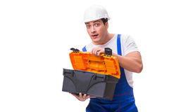 The man with toolbox isolated on white Royalty Free Stock Image
