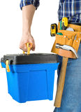 Man and toolbox with set of tools royalty free stock images
