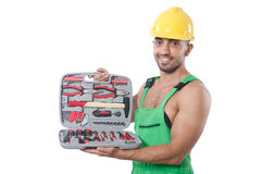 Man with toolkit. Isolated on the white Royalty Free Stock Images