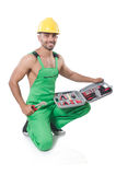 Man with toolkit Stock Photo