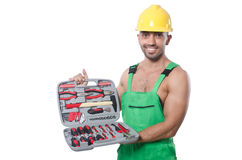 Man with toolkit. Isolated on the white Stock Image