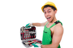Man with toolkit isolated. On the white Royalty Free Stock Image
