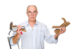Man with tools in his hands Stock Photos