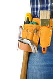 Man and tools in leathern belt isolated Stock Images