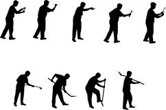 Man with tools silhouettes 3. Man with tools silhouettes black on white background royalty free illustration