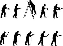 Man with tools silhouettes. Black on white background royalty free illustration