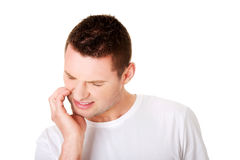 Man with tooth ache Royalty Free Stock Images