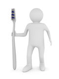 Man with tooth brush. Isolated 3D Royalty Free Stock Photography