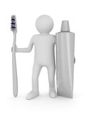 Man with tooth brush. Isolated 3D Royalty Free Stock Image