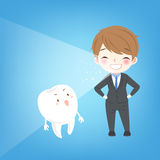 Man with tooth whiten concept. Cute cartoon man with tooth whiten concept Royalty Free Stock Photography