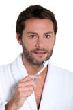 Man with toothbrush Royalty Free Stock Photography