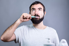 Man with Toothbrush Royalty Free Stock Photos