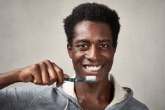 Man with toothbrush. royalty free stock photo
