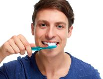 Man with toothbrush. Royalty Free Stock Photos