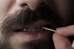 Man with Toothpick Royalty Free Stock Images