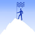 Man on top. Of the mountain with flag. Suggestion: you can add text in the lower part of the mountain Stock Photo